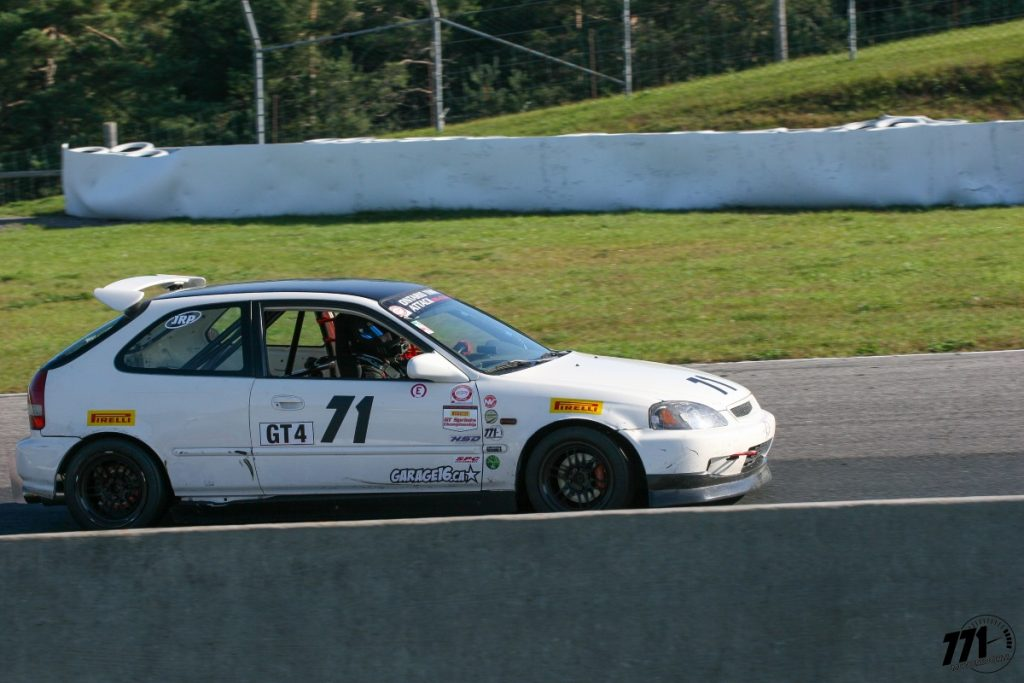 After slight contact with a GT1 car, the 771 Motorsports Honda CIvic suffered a bent side splitter, loosened front bumper and a damaged wheel.